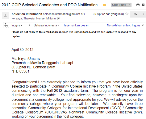 CCIP scholarship AMINEF