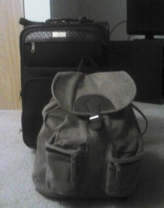 suitcase and backpack